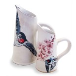 Handcrafted ceramic jug set from the Mervyn Gers Swallow & Cherry Blossom range from Africandy - R513.00 | http://www.africandy.com/large-jug-swallow-cherry-blossom-range-5779.html